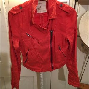 Free People Moto Linen Jacket -6 Red zippers